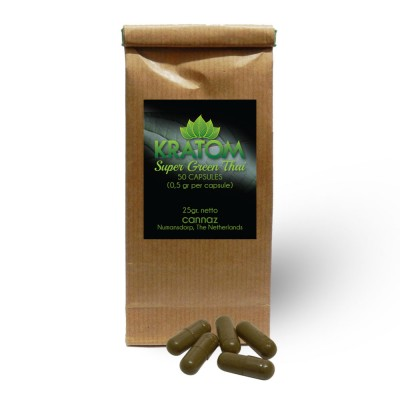 Kratom Super Green Thai (energie) - 50 vegetarische capsules á 500mg.